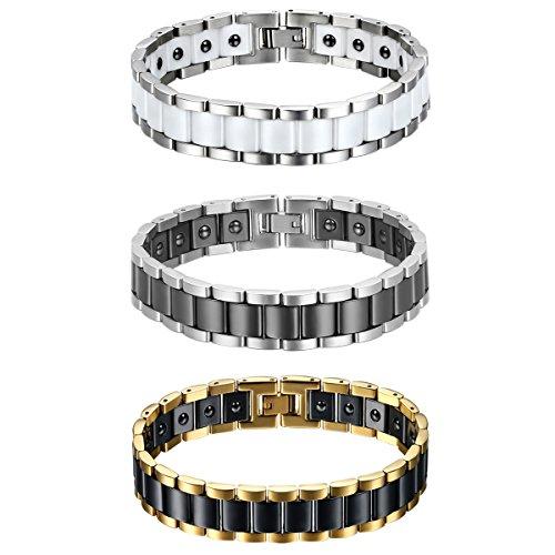 Gold-armband Schwarz-und Für Männer (JewelryWe Schmuck 3pcs Herren Magnet Armband, Edelstahl Keramik, Fashion I Rechteck Link Magnetarmband Armreif, Silber Gold Schwarz Weiß)