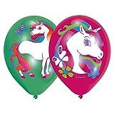 6 Luftballons * REGENBOGEN EINHORN * für Kinderparty und Kindergeburtstag // Deko Ballons Party Set Kinder Geburtstag Motto zauberhaft Traumwelt