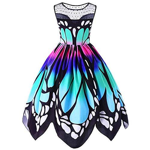 MIRRAY Damen Karneval Kostüm Jahrgang Schmetterling Gedruckt Ärmellos Kleid Swing Spitzenkleid Kleider(A-Mehrfarbig,XXXX-Large (Hunde Kostüme Für Teufel)