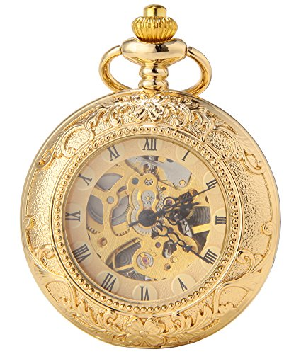 SEWOR Dress Double Open Mechanical Hand Wind Pocket Watch + Band Leather Gift Box (Gold Flower Pattern)