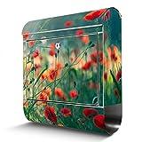 BANJADO Edelstahl Briefkasten mit Zeitungsfach, Design Motivbriefkasten, Briefkasten 38x43,5x12,5cm groß Motiv Waldmohn