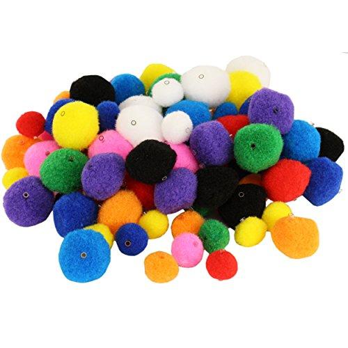 trendmarkt24 Pompons bunt gemischt 100 Stück Pompons mit Gummi-Tunnelzug Bommel in 2 Größen ideal zum Basteln/verzieren von Kostümen Bunte Pompons ca. 1,5 und 3,5cm Lochgröße ca. 2mm   23105