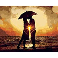 JIAOYK Painting By Numbers Couple under the umbrella Canvas Print Wall Art Home Decoration 16*20inch Frameless