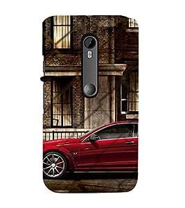 99Sublimation Red Royal colour Car 3D Hard Polycarbonate Back Case Cover for Motorola Moto G3 :: G 3rd Gen :: G Gen 3 :: G Dual SIM 3rd Gen :: G3 Dual SIM