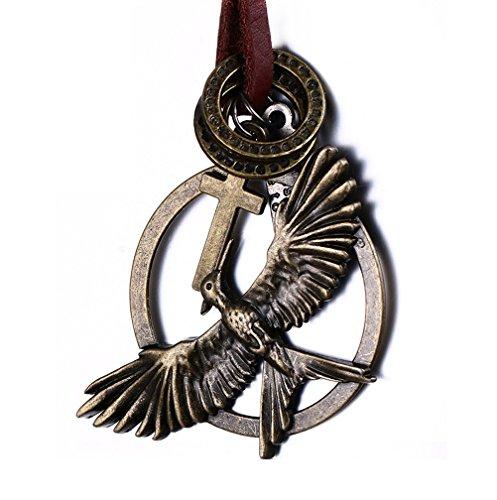 Da uomo da donna in ottone vintage Croce Tag/anello/aquila ciondolo collana cinturino in pelle
