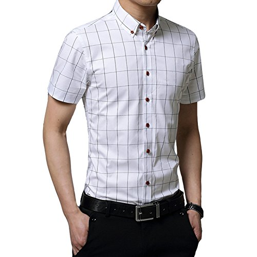 Uomo Camicia Classico / camicia a manica corta / Casual Plaid Slim Fit Taglia M/L/XL/XXL/3XL Bianca