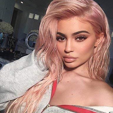 FMEZY Celebrity Perücke Rose Gold Farbe Lace Front Perücken synthetische Lange natürliche Welle hitzebeständige Faser Kylie Jenner HairPopular, rot