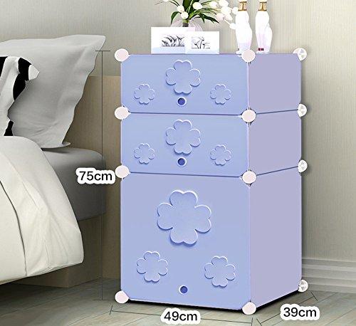 Flashing-DIY Simple en résine en plastique Mini-chevet des enfants Cabinet, Simple moderne armoire de rangement, petit placard armoires avec portes (taille : 49 * 39 * 75cm)