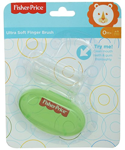 Fisher-Price Silicone Baby Finger-Brush With Case (Green)