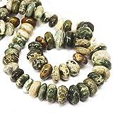 """Natural Jaspe océano Smooth Gemstone Rondelle Gemstone sueltos Craft cuentas Strand 15""""10mm 17mm"""