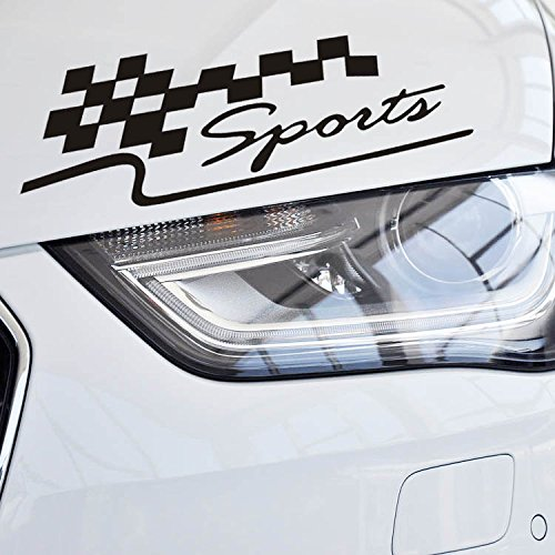 Vinyl Racing Flag Auto-Abziehbild-Aufkleber für Motorhaube, Stoßfänger, Fenster, Kotflügel, Kofferraumk (Schwarz)
