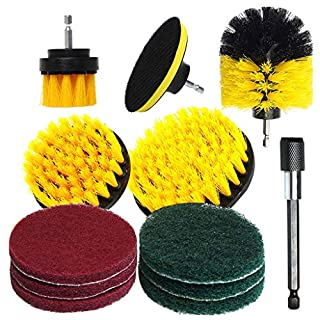 Gaddrt 12Pcs Drill Brush Kit Drill Brush Scrub Pads Power Scrubber Cleaning Kit All Purpose Cleaner Scrubbing Cordless Drill for Washing Cleaning Tool