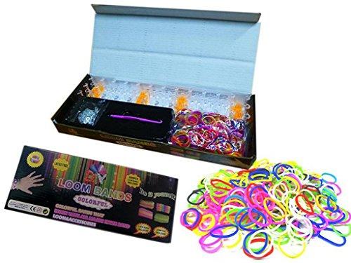 Loom Bänder Starter-Set / 600 Gummibänder, Webrahmen, Clips -