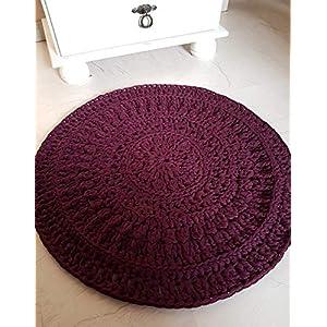 Teppich Häkelteppich Runderteppich Mandala Badvorleger lila aubergine burgundy 55 cm
