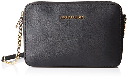 5b90ad8030 Michael Kors Women's Jet Set Crossbody Leather Bag, Black, ...
