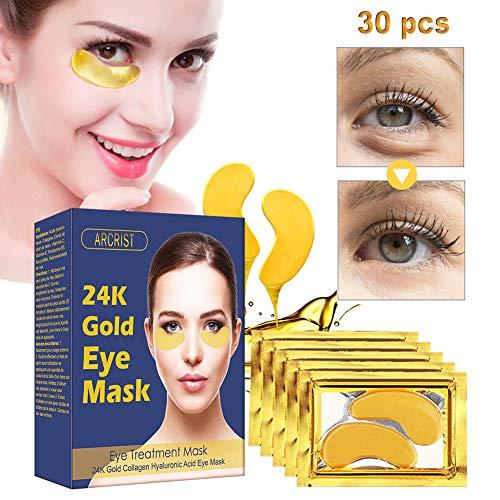 Collagen Augenpads, 24k Gold Kollagen Eye Mask, Hydra-Gel Hauttherapie Eye Pads, Anti-age Eye Maske, Eye Masks Gegen Augenringe, Eye Hyaluron Patches (15 Paare)