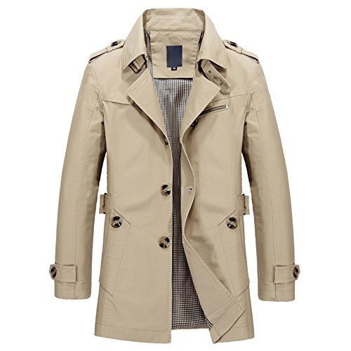 Elonglin Herren Klassisch Leichtgewicht Kurze Mantel Jacke Umlegekragen Langarm Beige DE L (Asiatisch 3XL)
