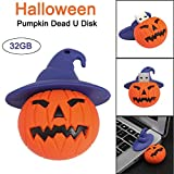 Liqiqi USB 2.0 Ultra Flash Drive Dual Use U Disk Data Storage bis zu 18 MB/s Halloween Pumpkin Design 32 GB