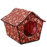 Drucken Bowknot Hundehöhle Katzenhöhle Hundehütte Hundebett Katzenbett Hundehaus Haustier Zwinger Mit Abnehmbares Dach Braun 1 S