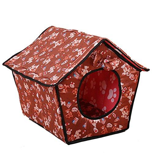 Drucken Bowknot Hundehöhle Katzenhöhle Hundehütte Hundebett Katzenbett Hundehaus Haustier Zwinger Mit Abnehmbares Dach Braun 1 L