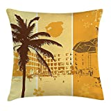Landscape Throw Pillow Cushion Cover by, Summer Holiday Theme Illustration of a Resort Flowers and Palm Trees Pattern, Decorative Square Accent Pillow Case, 18 X 18 inches, Brown Marigold