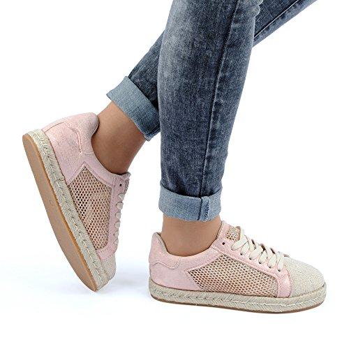 Damen Casual Sneaker Netz Glitzer Freizeit Velours-Optik Sportschuhe Schnür Low Top Schuhe Pink