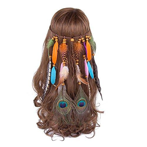 Indische Kopfschmuck Kostüm Mädchen - AWAYTR Bohemien Feder Haarband Hippie Haaretragen