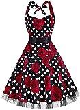 OTEN Vintage Kleider, Frauen mit Blumenmuster, 1950er-Jahre, Rockabilly Neckholder-Kleid Gr. Medium, Rose