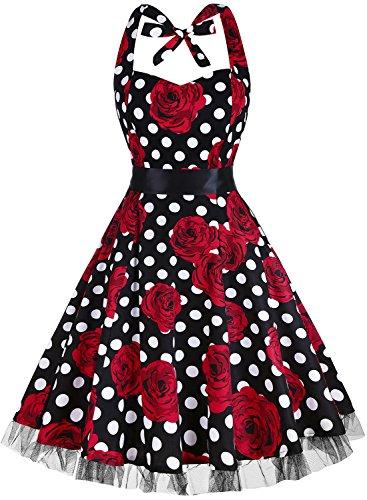 oten Vintage Kleider, Frauen mit Blumenmuster, 1950er-Jahre, Rockabilly Neckholder-Kleid Gr. Small, Rose