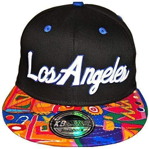 KB Ethos Los Angeles Aztèque Casquettes Snapback, Ajustée Visière Plate Hip hop Bling Casquettes De Baseball - Noir, Taille Unique