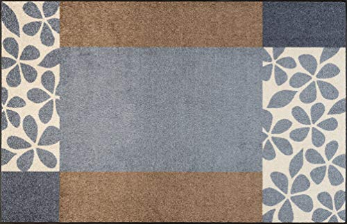 wash+dry Doormat with Florita Grey Design (Can be Washed), Polyester, grey, 75 x 190 cm