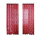 Amesiii, tenda con design a foglie, per soggiorno e camera da letto, 100x 270cm Red