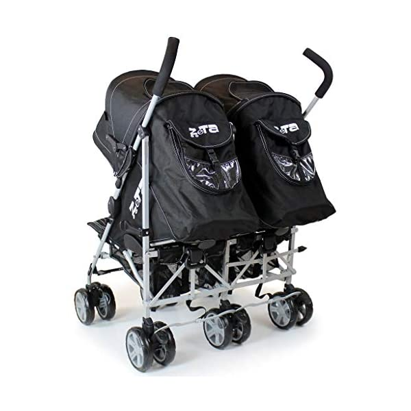 Zeta VOOOM Twin Double Stroller - Black iSafe Suitable From Birth - 3 Years (Max weight 30 KG!) 4 position recline (Suitable from birth) Double Rain-cover (Included!) 5 Point Safety Harness with shoulder Pads (Yes!) Foam Grip Handles (Yes!) Umbrella Folding (Yes!) Safety hinges all round! (Yes!) Carry Handle (Yes!) Folded Size W42 x L96 x H44 Open Size W73 x L63 x H104 2