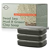 O Naturals 3-Piece Cleansing Green Clay & Dead Sea Mud Bar Soap. 100%...