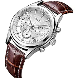 BUREI Chronograph Quartz Wrist Watches with Scratch-resistant Mineral Crystal Lens White Dial Brown Leather