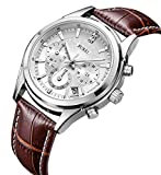 - 51 2BO9cpjmmL - BUREI Chronograph Quartz Wrist Watches with Scratch-resistant Mineral Crystal Lens White Dial Brown Leather