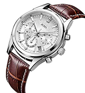 BUREI Chronograph Quartz Wrist Watches with Scratch-resistant Mineral Crystal Lens White Dial Brown Leather Strap