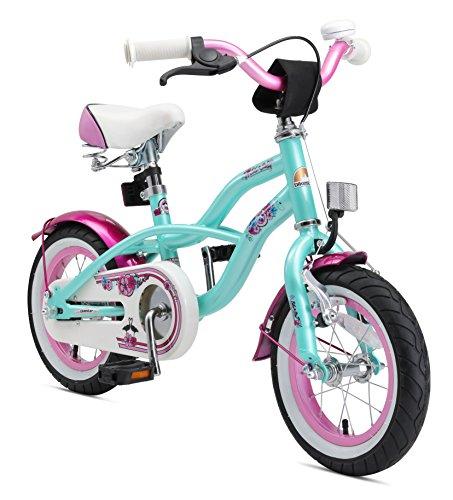 BIKESTAR Kinderfahrrad für Mädchen ab 3-4 Jahre | 12 Zoll Kinderrad Cruiser | Fahrrad für Kinder Mint