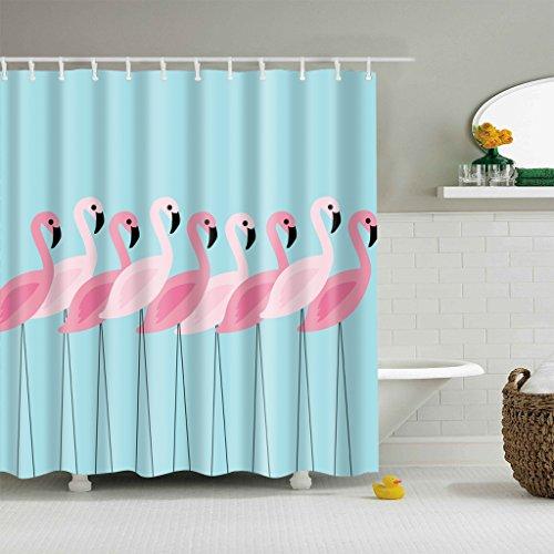 Duschvorhang Rot Rosa Flamingo 12 Haken Bad Dekorationen Badezimmer Dekor Sets mit Haken Hochzeit Geschenke für Kunstdruck Polyester Stoff