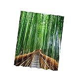 Sharplace Grün Bambus Wald Muster Badevorhang Dusch Vorhang Badezimmer 180x180cm 100% Polyester