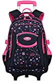 Coofit Cartable a Roulette Fille en Oxford Sac Roulette Fille Cartable Fille College Cartable Fille Primaire Sac a Dos Enfant Fille Sac Ecole Fille Cartable Fille Roulette (Rose - Noir)