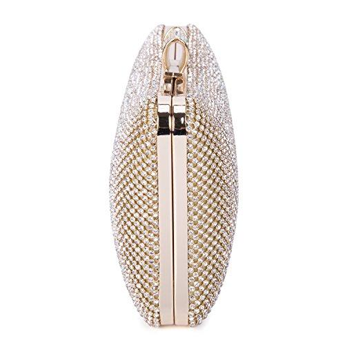BAIGIO Elegante Borsetta con Tracolla da Donna Pochette con Diamante da Matrimonio Borsa Sacchetto da Sera, Oro Oro