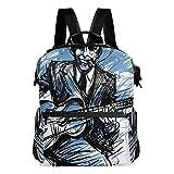 KIMDFACE Sac à dos,Guitariste Guitariste Blues Man Expression,Sacs ordinateur portable Imprimé décontracté Sac bandoulière Étudiant universitaire Daypack Voyage Randonnée Pack de camping(29*16*38 cm)