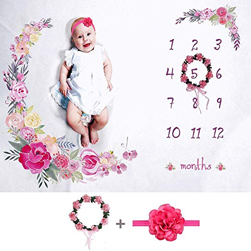 RecoverLOVE Baby monatliche Meilenstein Decke Mädchen Floral Plüsch Fleece Baby Fotografie Hintergrund Memory Decke für Neugeborene mit Bonus Kranz und Stirnband, Set -