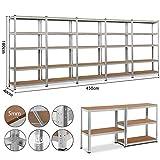 Yaheetech 5x Schwerlastregal 180 x 90 x 40 cm Kellerregal Metall Steckregal verzinkt Regalsystem Traglast bis 175 kg pro Fachboden