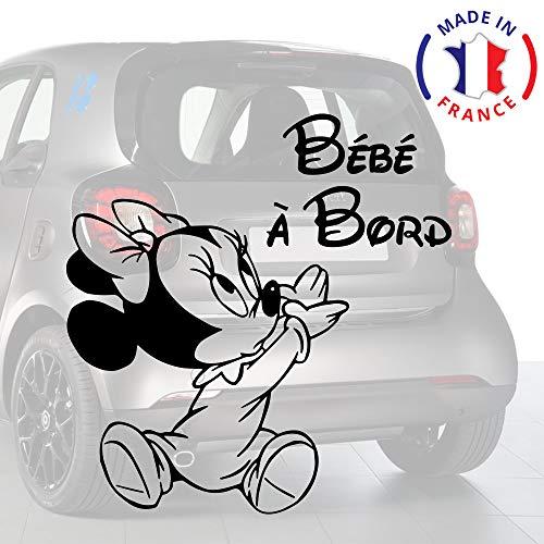 Sticker bébé à bord pour voiture Minnie 15 cm Noir - Anakiss