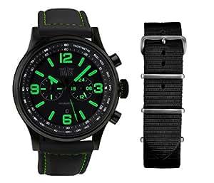 Davis-1842-NN - Montre Homme Aviateur Noire 48mm - Index Vert - Chronographe - Etanche 50M - Bracelet Lorica Noir + 1 Bracelet Nato Offert