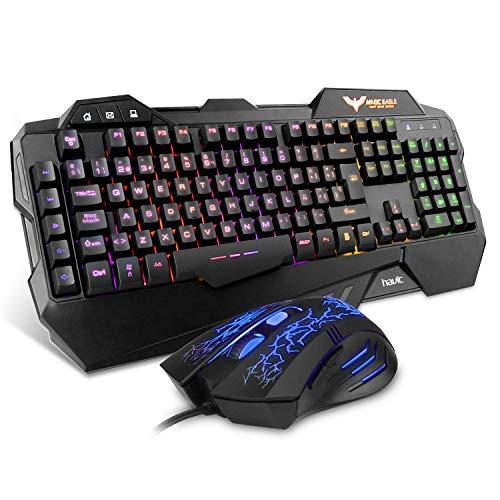 Teclado Gaming {Teclado Español}, HAVIT Rainbow Conjunto de Teclado y Ratón con...