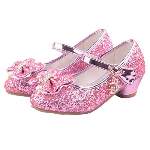 Mädchen Pailletten Schuhe Prinzessin High Heel Schuhe Kinder Party Pumps (CN34=EU 33 Little Kid, Pink)