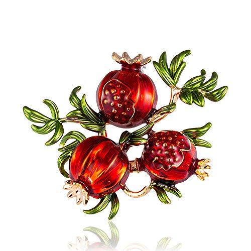 DIYOO Brosche Granatapfel Broschen Rote Broschen für Frauen Männer 4,8 * 4,1 cm -